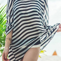 White and Black Stripe Halter Three Piece Swimsuit