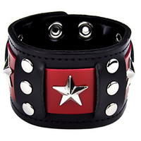 "3 Stars With Riveted Red Band Bracelet 1-3/4"" Wide Wristband"