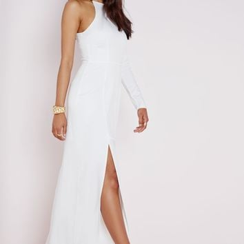 ASYMMETRIC SLEEVE MAXI DRESS SNAKE CHAIN NECK DETAIL WHITE