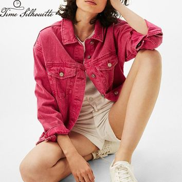 Spring Autumn 2018 Denim Jacket Women Bomber Loose Casual Candy Color Red Pink Black Green Boyfriend Mulheres Jeans Coats L727