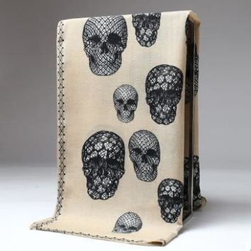 Large warm soft fabric skull Printed square cashmere scarves 120*120cm