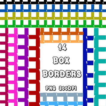 Digital Box Borders for Scrapbooking Blue, Orange, Pink, Red Etc. 14 frames in PNG format Commercial-Use Instant Download