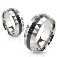Elevate - FINAL SALE Black and blue carbon fiber inlaid prism faceted stainless steel his and hers ring