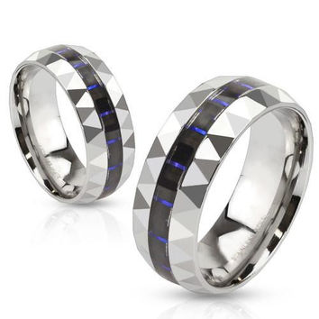 Elevate - Black and blue carbon fiber inlaid prism faceted stainless steel his and hers ring