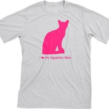 I Love My Egyptian Mau | Must Love Cats® Hot Pink On Heathered Grey Short Sleeve T-Shirt