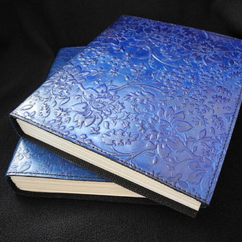 Handmade BLUE Leather Journal Diary - Hand-Tooled HONEYSUCKLE Design - Freepost UK - Pages Cartridge Paper