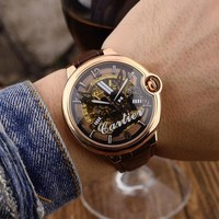 HCXX C027 Cartier Pirate Skull Hollow Automatic Machinery Leather Watchand Watches Black Rose Gold White