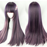 Lolita Lady Anime Costume Wig Long Straight Gradient Pink Black Full Hair Wig