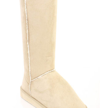 Beige Faux Shearing Lined Comfy Boots Faux Suede