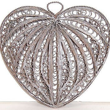 VTG Silver Filigree Heart Pendant Victorian Double Sided Puffy 2 3/4in 20g