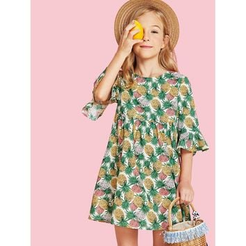 Bell Sleeve Pineapple Print Smock Dress