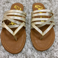 Champagne Sparkle Strappy Sandals