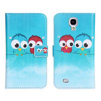 Lovely Design Cute Cartoon Baby Bird Owl Flower PU Leather Case with Stand Card Holder Wallet For Samsung Galaxy S4 i9500