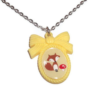 Cute Cameo Necklace, Fox And Mushroom Yellow Kawaii Pendant
