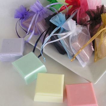 100 Soap Favors 2 oz  in Organza Bags - Handmade Glycerin Soaps - Bridal Shower - Wedding Favor - Party Favors - Choose your scent and color