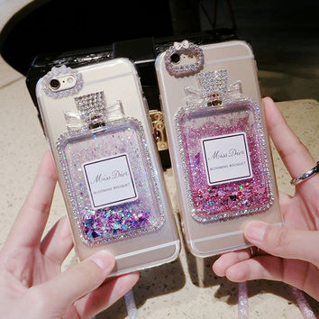 Luxury Bling Perfume Bottle Glitter Stars Dynamic Liquid Quicksand clear TPU Silicone Phone Case For Iphone 7 6 6S Plus 5 5s SE -0405