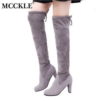 MCCKLE Female Winter Thigh High Boots Women Faux Suede Leather High Heels Over The Knee Botas Mujer Plus Size Shoes Pumps 34-43