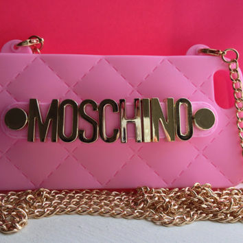Luxury 3D Bling Fashion MOSCHINO Logo Design With Strap Blue Soft Plastic Case Cover for Apple iPhone 5 5S