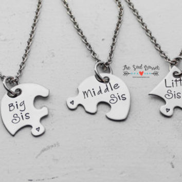Puzzle Piece Necklace Set | Big, Middle, Little Sis Necklaces | Personalized Necklaces | Puzzle Necklace | Sisters Jewelry | BFF Necklaces
