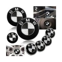7 BMW Black Carbon Fiber Emblem logo badge SET 82mm + 74mm + 45mm + 68mm Hood/Trunk/Steering/4 X Wheel Caps.
