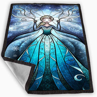 Elsa Stained Glass Blanket for Kids Blanket, Fleece Blanket Cute and Awesome Blanket for your bedding, Blanket fleece **