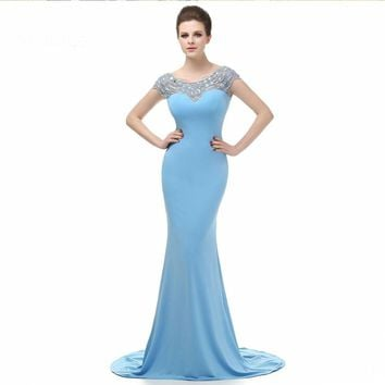 Long Formal Dress Cap sleeve Backless Beaded Mermaid Evening Dresses