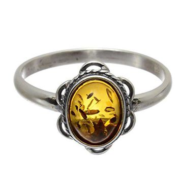 HolidayGiftShops Sterling Silver Baltic Amber Ring Brittany
