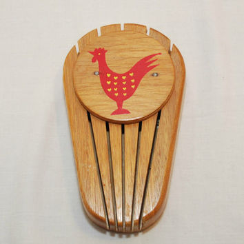Vintage Red Rooster With Yellow Hearts Wood Knife Holder (c. 1950's?) Chicken Collectible, Vintage Knife Holder, Country Kitchen, Folk Art