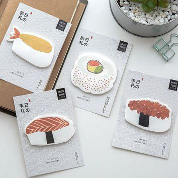 DCCKL72 Cute Kawaii Sushi Paper Stickers Memo Pad Creative Food Post It Note For Kids Gift School Supplies Free Shipping 3308