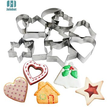 Joinhot 10 Pcs Baking Mould stainless steel Christmas Cookies Cutter Biscuit Mould Set Sugar Arts Fondant Cake Decoration Tools