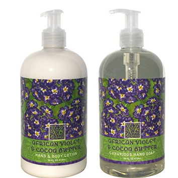 Greenwich Bay African Violet & Cocoa Butter Hand & Body Lotion and African Violet & Cocoa Butter Hand Soap Duo Set Enriched with Shea Butter 16 oz each