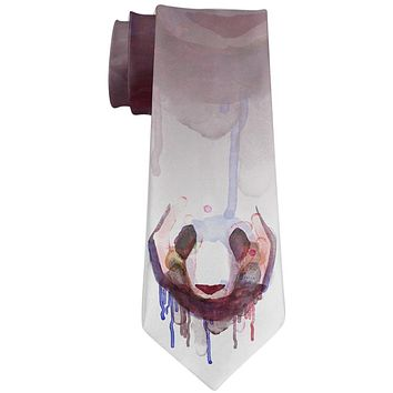 Watercolor Dripping Paint Panda Face All Over Neck Tie