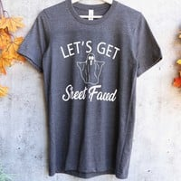 distracted - let's get sheet faced unisex graphic tee - dark heather charcoal grey