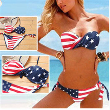 Striped Star Flag Bikinis Beachwear Swimsuits Net Sand Siamese Sexy Striped Beachwear Brazilian Bathing Swim Suit Bath