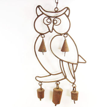 1970s Rustic Owl Wind Chime - Cabin & Porch Decor - Hooter Bells