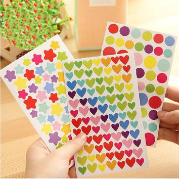 6 Pcs Colorful Dot Love Heart Stars Shape Funny Scrapbooking Diary Decorations Escolar Sticky Notes Memo Pad Kawaii Stickers