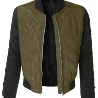 LE3NO Womens Classic Zip Up Quilted Bomber Jacket with Pockets (CLEARANCE)