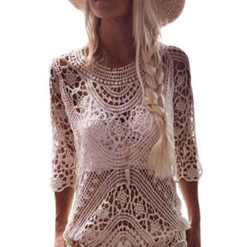 White Sheer Crochet Open Back Beachwear