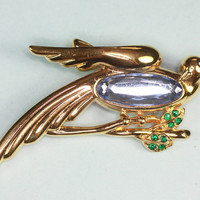 Monet  Dove Brooch Blue Glass Center Rhinestones Vintage