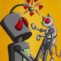 WEEKEND SALE - Fantasy Art Robot and Pet Print - I love my robot cat by Mike Best