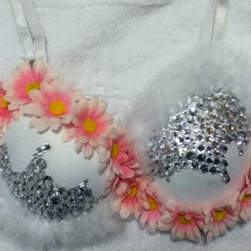 Rave white and pink snow daisy rhinestone bedazzled bra