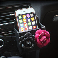 Fashion Car Phone Holder Bag lover gift- PU Car Monogram Car Trash Bag Interior Accessories