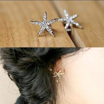 Full diamond starfish earrings rhinestone five-pointed star earrings