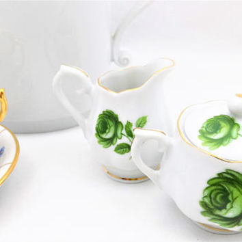 Individual Creamer and Sugar Bowl, White with Green Roses, Gold Gilt Trim