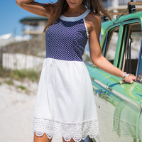 Not Just A Pretty Lace Dress, Navy-White