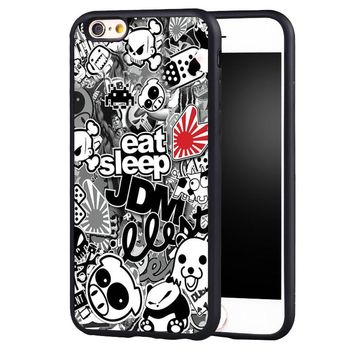 Sticker Bomb Eat Sleep JDM soft edge hard back case cover for iPhone 6 6plus 6S 7 7Plus 5S 5 SE 5C