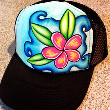 Plumeria splash, handpainted trucker hat