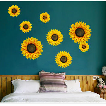 4 PCS 3D Sunflower Children Bedroom Living Room Wall Sticker [9358033220]
