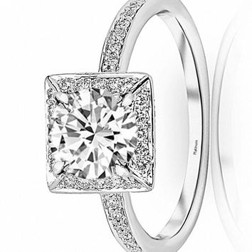 d.1 Carat 14K White Gold Victorian Halo Square GIA Certified Round Cut Diamond Engagement Ring (0.75 Ct D Color VS1 Clarity Center Stone)