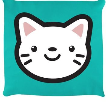 Happy Kitty Turquoise Cushion
